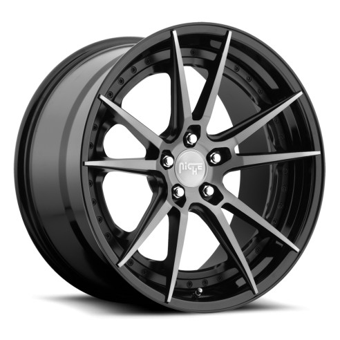 Grand Prix - M324 Wheel by Niche Wheels - Shown in Black and Machined with Dark Tint Finish